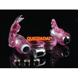 QH529-37     dual vibraor bunny, Cock Rings, Penis Rings, male adult aid pleasure sexy toy, sex products