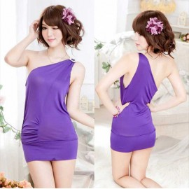 QX382    Sexy Noble Purple One-shoulder Slim Party Short dresses, Women clothing, Sexy Lingerie for Woman