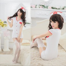 QX384    Sexy Exotic Apparel white Nurse Costumes Set with Nurse Cap, Uniform, Role-playing Clothing, Sexy Lingerie