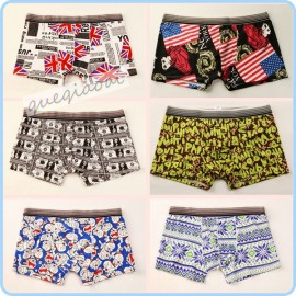 YW008 2014 pull in cartoon pattern and paper money underwear summer must-series swimwear men penis pouch boxers