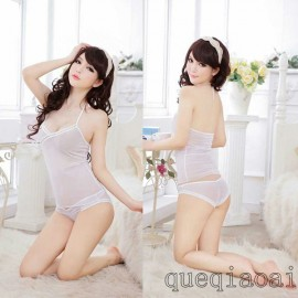 Z008-35 Sexy Hanging-neck Lace Low-cut Perspective Underwear Set  vest+briefs underwear set  Sexy Lingerie for Woman