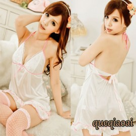 Z021-35 New Female sexy Hanging-neck Low-cut Backless perspective Bow Deep v-neck Babydoll sexy lingerie hot