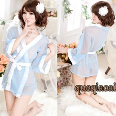 Z029-35 2014 New sexy robe solid perspective low-cut white belt sexy underwear white regular full sleeves sexy lingerie