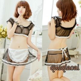 Z037-25 New fantasias two-piece sexy costumes women o-neck lantern sleeve stewardess maid skirt  sexy lingerie