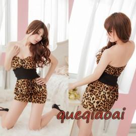 Z041-25 New 2014 sexy underwear low-cut leopard strapless secretary uniform sexy costume ruffles sheath sexy lingerie hot