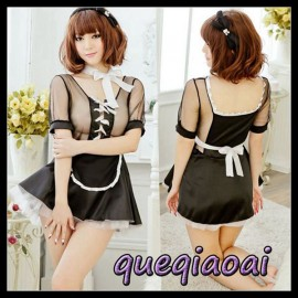 Z082-15 summer dress 2014 Fashion fantasia lace bow perspective apron maid cosplay sexy costumes sexy lingerie