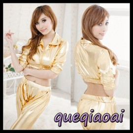 Z087-15 Fashion fantasia lapel golden sexy underwear+pant clothing set racer cheerleaders sexy costume sexy lingerie
