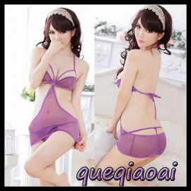 Z091-15 New  perspective halter deep v-neck low-cut backless sexy underwear+open thong sexy costumes sexy lingerie