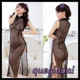 Z095-20 Fashion summer dress 2014 stand collar black stripes cheongsam perspective side slit chinese traditional dress
