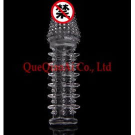 retail QUE0516   Soft Waterproof Silicone Condoms, Penis Extend Sleeve, Sex Toys for Man