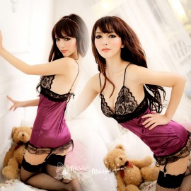 7-s004    Sexy sleepwear perspectivity lingerie milk lace tulle spaghetti strap nightgown tube top set