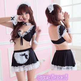 QX353    Women Sexy Lace Open-crotch Naughty Maid Costume Set, Female Sexy Lingerie, Party Costume, Cosplay Dress