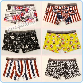 YW001 2014 fashion manstore american flag underwear bones Crayon Shin-chan cartoon pattern pattern swimming trunks men boxers