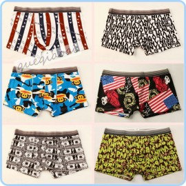 YW005 2014 fashion hipster underwear men boxer transparent low waist swimming trunks paper money and cartoon shorts men