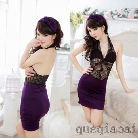 Z011-30 2014 sexy night purple Hanging neck erotic underwear package baby doll female sexy low-cut elastic sexy lingerie hot