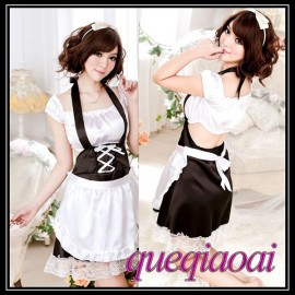 Z073-15 New 2014 Fashion fantasia halter perspective sexy dress+open thong sexy costumes maid sexy lingerie