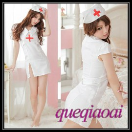 Z075-15 New 2014 Fashion fantasia low-cut deep v-neck sexy underwear+open thong nurse costumes sexy lingerie