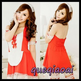 Z077-15  High quality fashion fantasia maid sexy costumes halter low-cut off the shoulder bow design sexy lingerie
