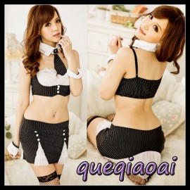 Z079-15 Fashion fantasia spaghetti strap tie+sexy bra+sexy skirt clothing set school teacher sexy costume sexy lingerie