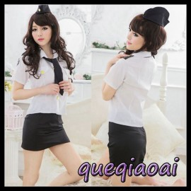Z081-15 Fashion fantasia lapel callor tie+blouse sexy underwear+sexy skirt clothing set Army sexy costume sexy lingerie