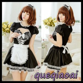 Z083-20 2014 New Fashion fantasia lace bow low-cut o-neck ball gown apron maid cosplay sexy costumes sexy lingerie