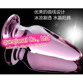 retail que0103 glass dildo, Can adjust the temperature through the water, High-quality sex toys, glass anal plug