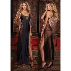 160cm Long Black Mesh See Through Women Sexy Lingerie Hot Dressing Gown Sexy Robe Porn Exotic Sleepwear Nightwear Baby Doll
