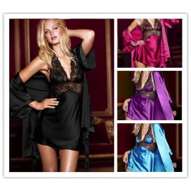 2 Pieces Dressing Gowns For Women Silk Robe Longue Satin Robes Bathrobe Women Kimono Pajamas 4 Colors