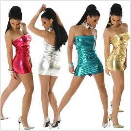 Erotic Women Latex Faux Leather Night Dress Sleepwear Sexy Hot club Pole Dance Dancewear  Clothes Nightwear Lingerie Costumes