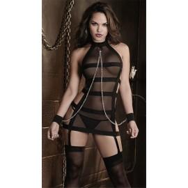 Exotic Apparel Sexy Bandage Lingerie Women Bondage Fish Net Erotics Fetish Latex Black Bodysuit Cat Women Bodystockings