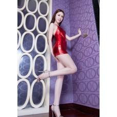 Sexy Faux Leather Bodysuit Women Erotic Lingerie Pole Dance Clubwear Babydoll Mini Dress Lingerie