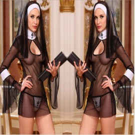 Sexy Nun Womens Costumes Halloween Fantasy Sister Mesh Lingerie For Sex And Exotic Game Lingerie Set Cosplay Party Erotics Women